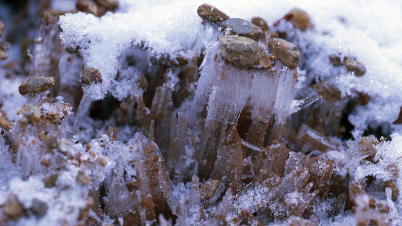 در اینجا آمده است که چگونه سوزنهای یخ الگوها را به مناظر سرد و صخرهای تبدیل میکنند